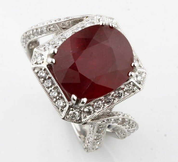 Ruby and Diamond 18k White Gold Cocktail Ring Size 6.75 AIG Certificate