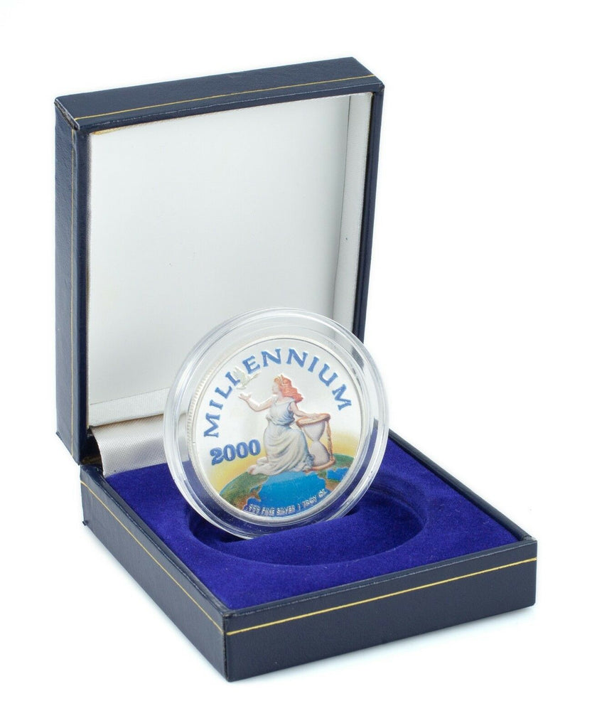 "Painted Republic of Liberia $20 Silver Coin with ""MILENNIUM 2000"""