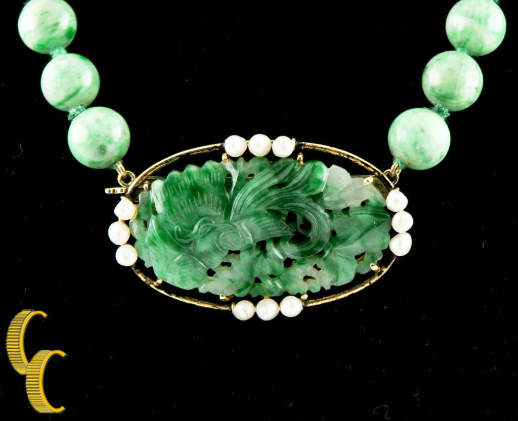 Imperial Jade, Pearl, 18k Yellow Gold Bead Necklace w/ Hand-Carved Pendant 18""