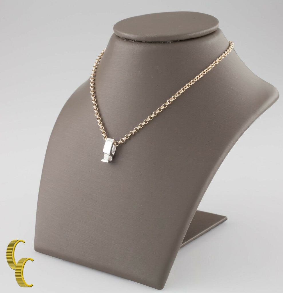14k Yellow Gold Rolo Chain w/ 14k White Gold Princess .18 ct Diamond Pendant