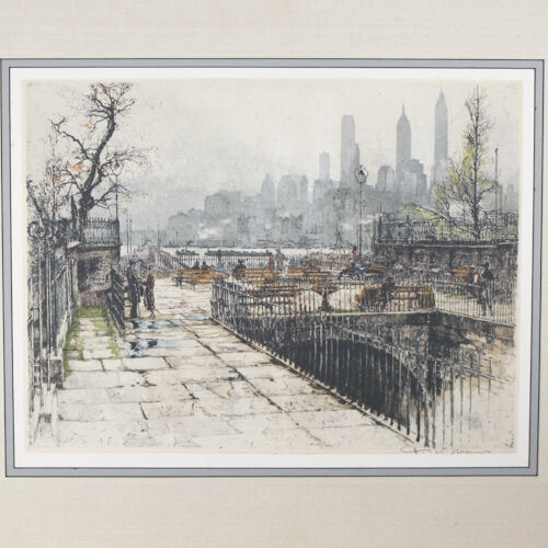 """Montague Terrace, New York"" By Tanna Kasmir Hoernes Signed Etching/Aquatint"