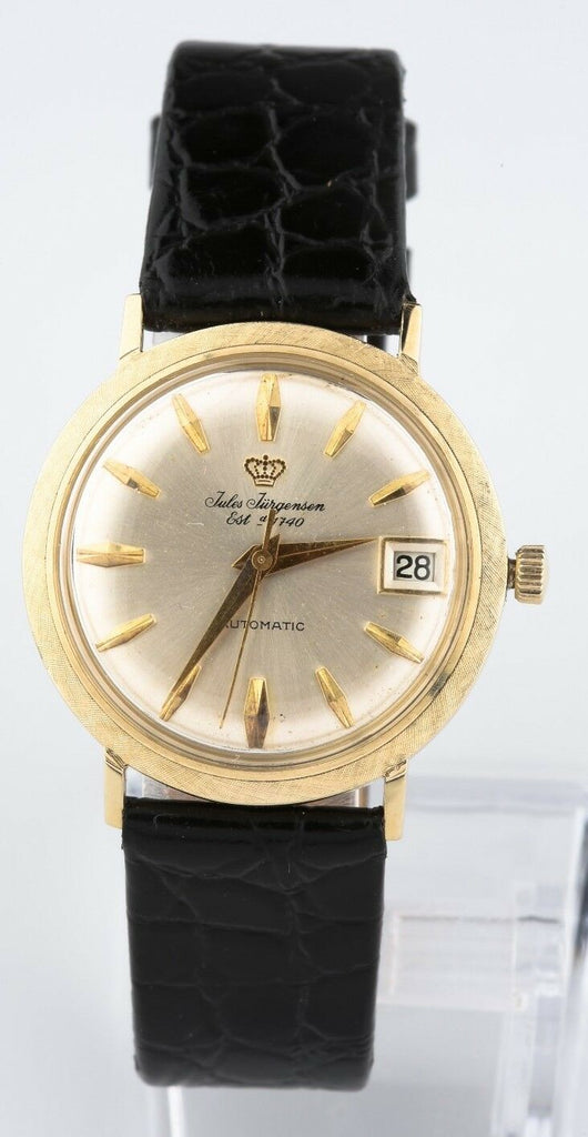 Vintage 14k Yellow Gold Men's Jules Jurgensen Automatic Watch w/ Leather Band