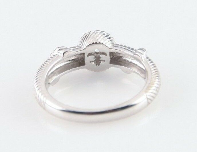 Judith Ripka Sterling Silver CZ Cable Stacking Ring Size 9.75 Great Condition!