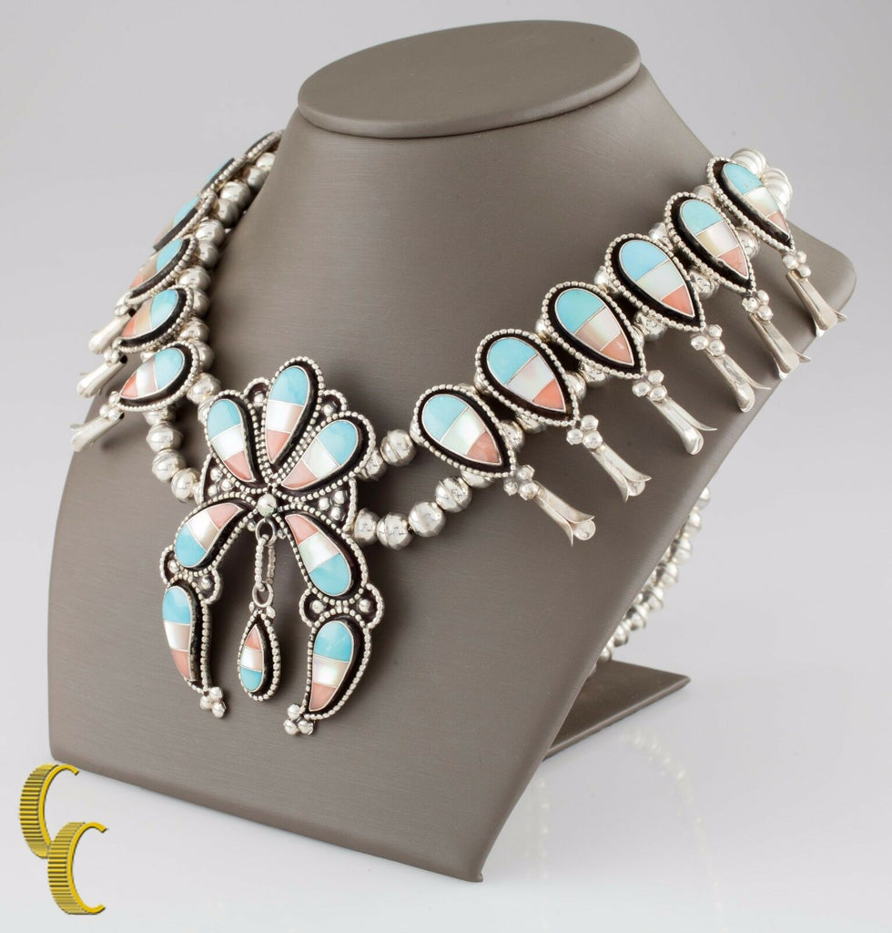 Sterling Silver Squash Blossom Necklace & Earring Set Turquoise, Coral, MOP