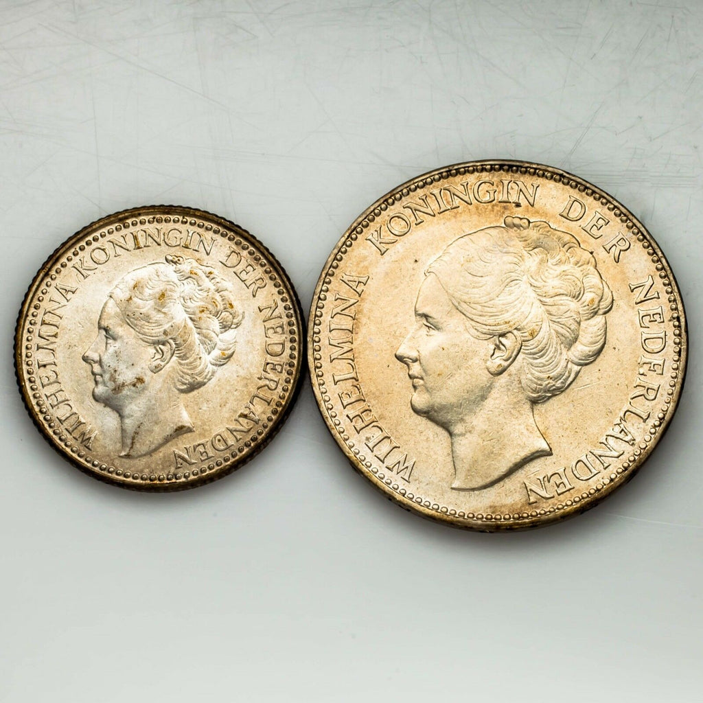 1921 Netherlands 1/2 Gulden & 1938 1 Gulden Two Coin Lot (XF-AU Condition)