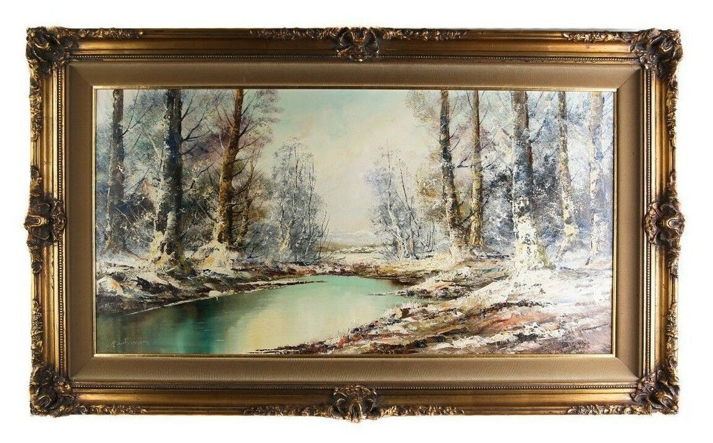 "Untitled Painting Winter Scene by Aldo Mantovani Oil on Canvas 28 x 47"" Repaired"