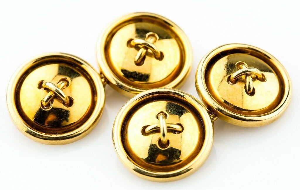 18k Yellow Gold Vintage Button-Style Cufflinks Engraved 750 5H