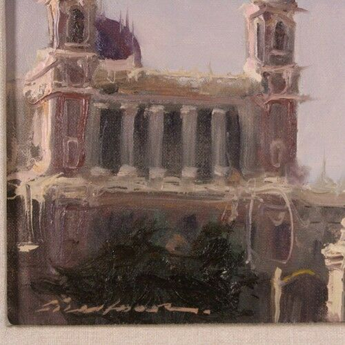 "Richard Fillhouer ""City Limits-Paris"" Oil on Board Signed & Inscribed on Reverse"