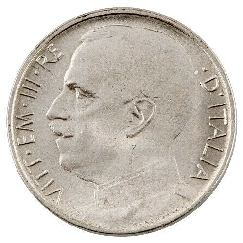 1920 ITALY-R 50 CENTESIMI PIECE PLAIN EDGE