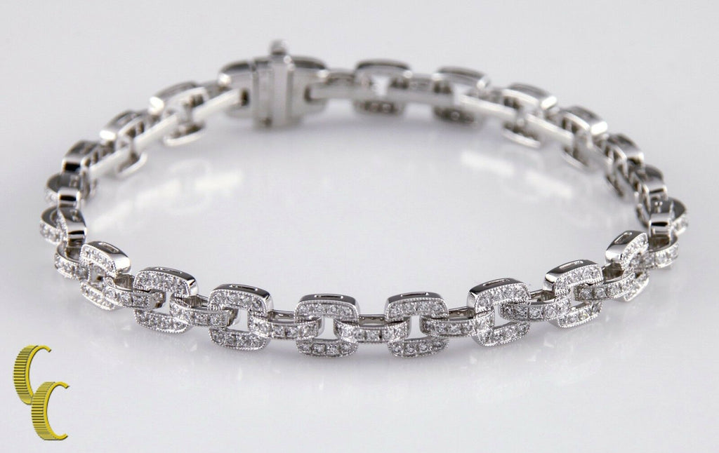 3.50 carat Pave Diamond 18k White Gold Chain Link Bracelet Beverley K Collection