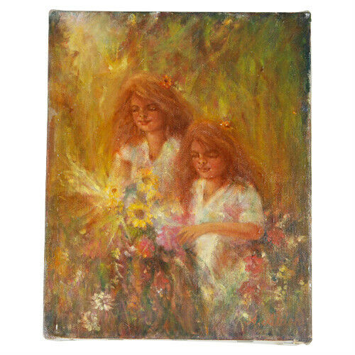 """Sisters...Picking Flowers"" By Anthony Sidoni 1997 Signed Oil on Canvas 10""x8"""