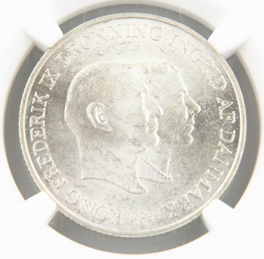 1953-H NS Denmark 2 Kroner Silver Coin MS-63 NGC Greenland Tuberculosis KM-844