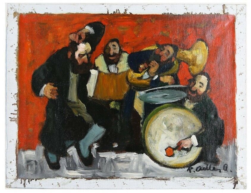 """Chassidic Dance"" by Adolf Adler Signed Oil on Canvas 12"" x 16"" w/ CoA"