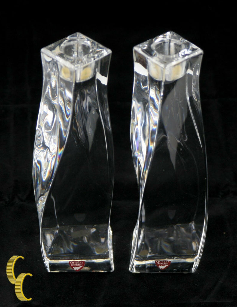Pair of Orrefors Crystal Candle Holders Olle Alberius Design Including Boxes