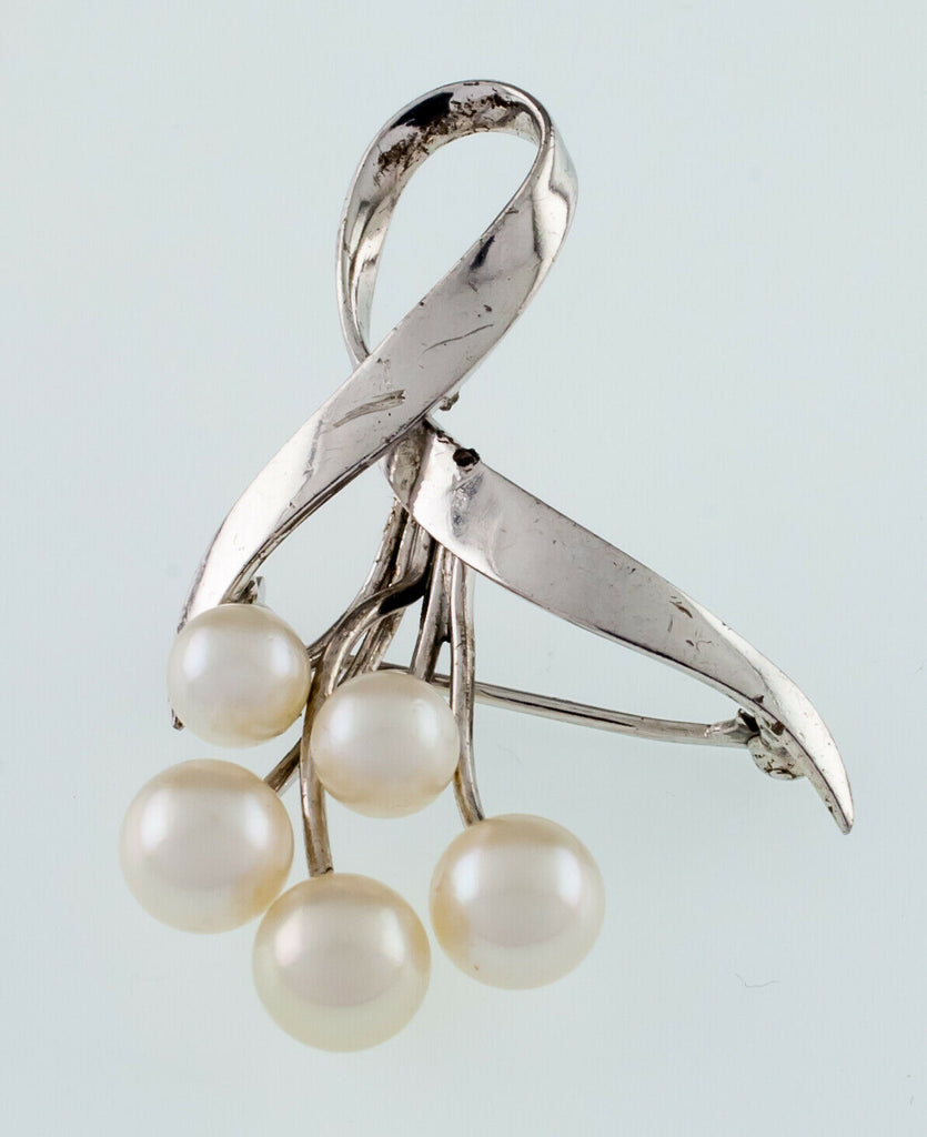 Mikimoto Sterling Silver Vintage Pearl Brooch Nice Condition!