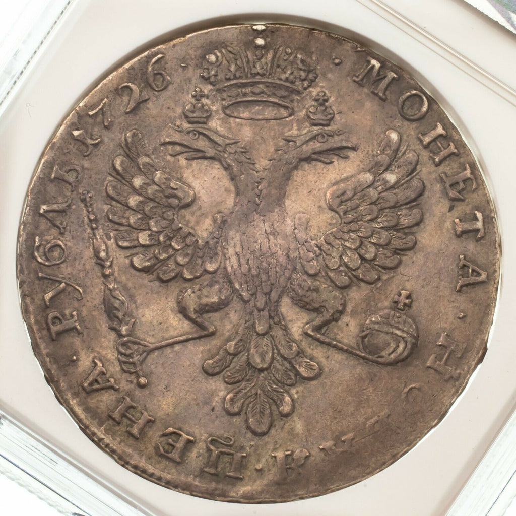 1726 Russia Rouble Bust Left Catherine I Graded by NGC as XF40 KM #168