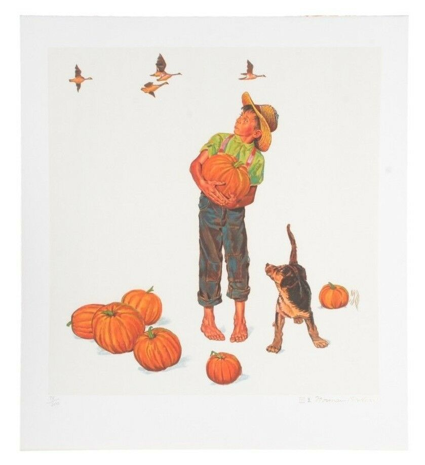 """Autumn's Harvest"" by Norman Rockwell Lithograph on Arches Paper Ettinger Inc."