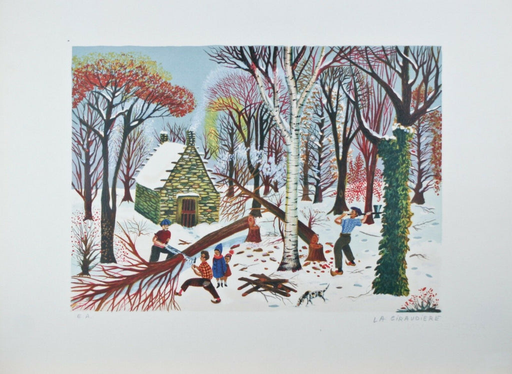 """The Forest"" By La Giraudiere Artist Proof Lithograph On paper 25.5'' x 18.75''"