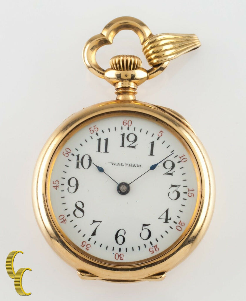 Waltham Ruby 14k Yellow Gold Open Face Antique Pocket Watch Size 0 15J 1901