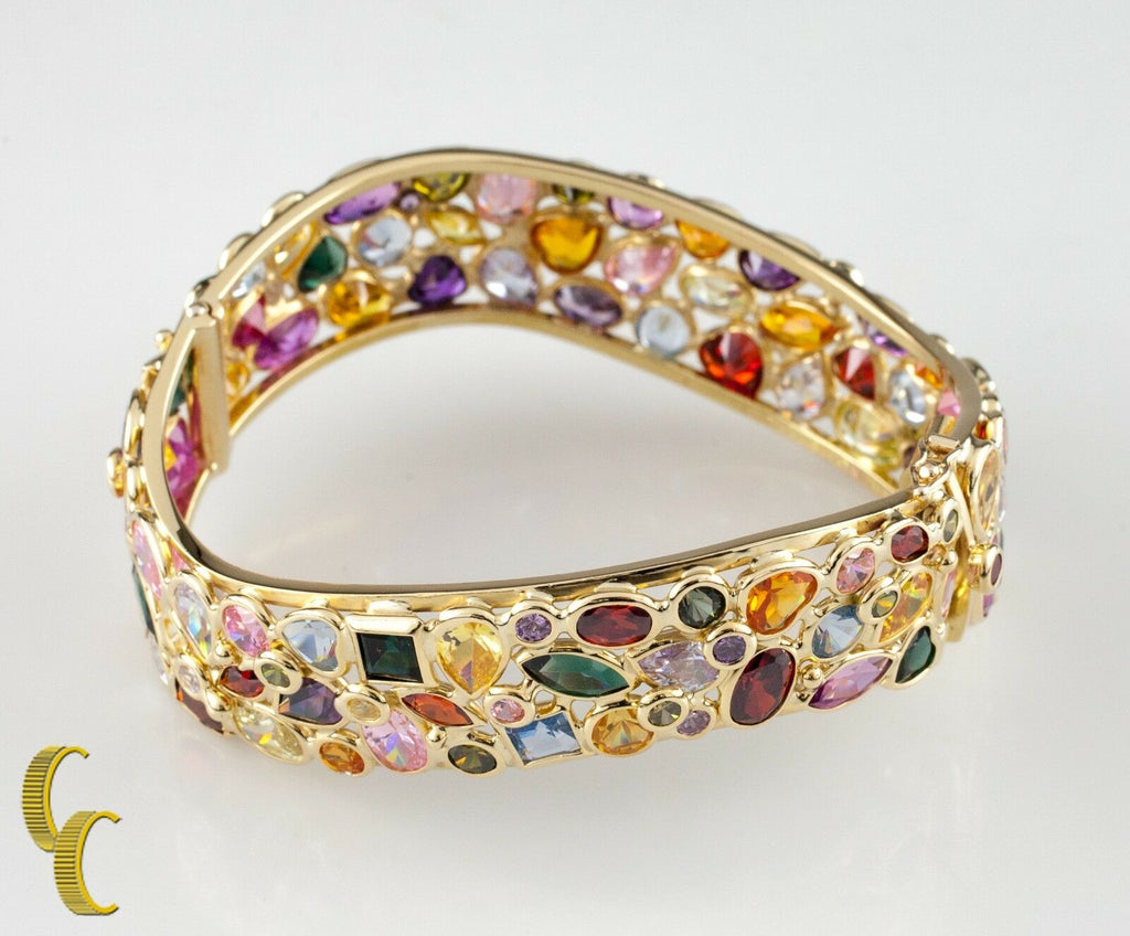 Multi-Colored Gemstone 18k Yellow Gold Bangle Bracelet
