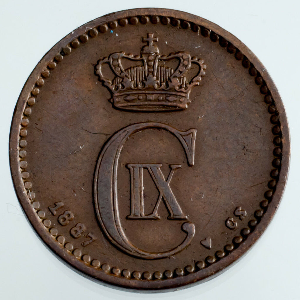 1887 Denmark 1 Ore XF Condition KM #792.1