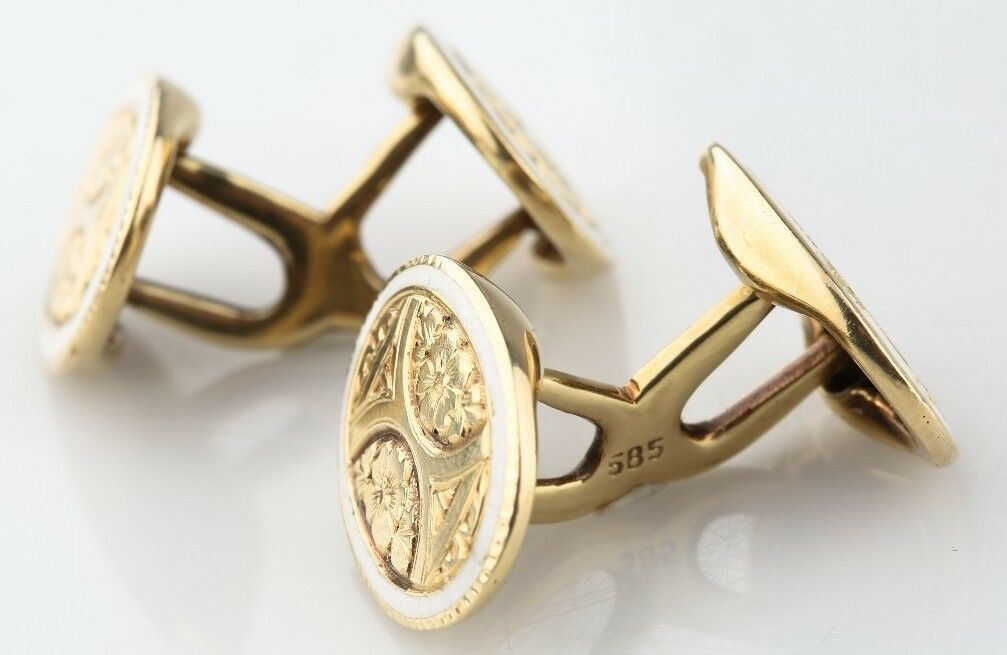 14K YELLOW GOLD ANTIQUE ENAMEL ENGRAVED CUFFLINKS