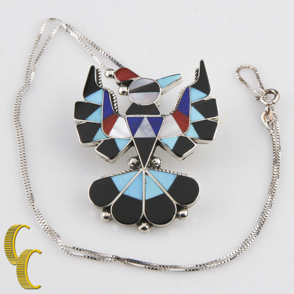 Native American Semi-Precious Inlay Eagle Necklace and Earring Set w/ Box Chain