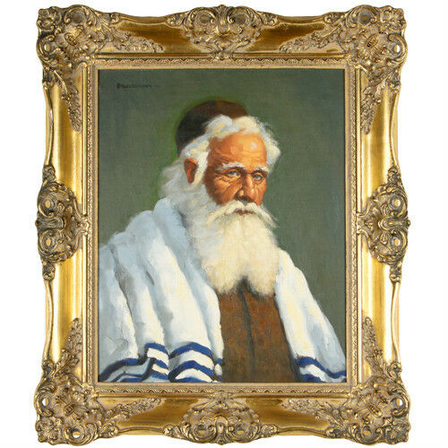 """Shalom"" By Fred Stueckmann 1963 Signed Oil Painting Framed 26""x22 1/2"""