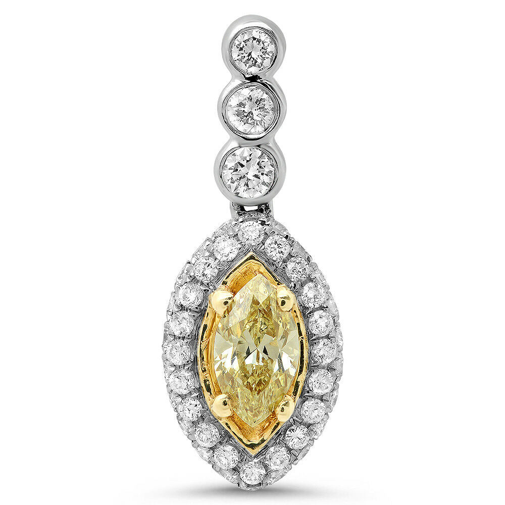 18k Two Tone Gold Fancy Yellow Marquise Solitaire Pendant w/ Accents TDW 1.05 ct