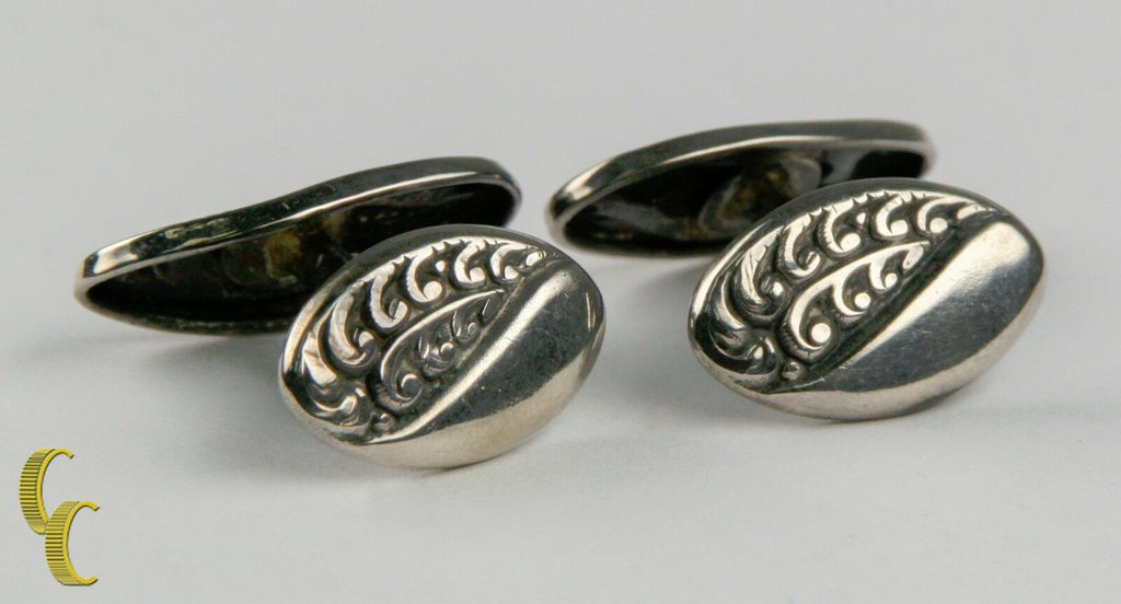 Men's Sterling Silver Cufflinks w/ Delicate Leaf Designs Nice Toning