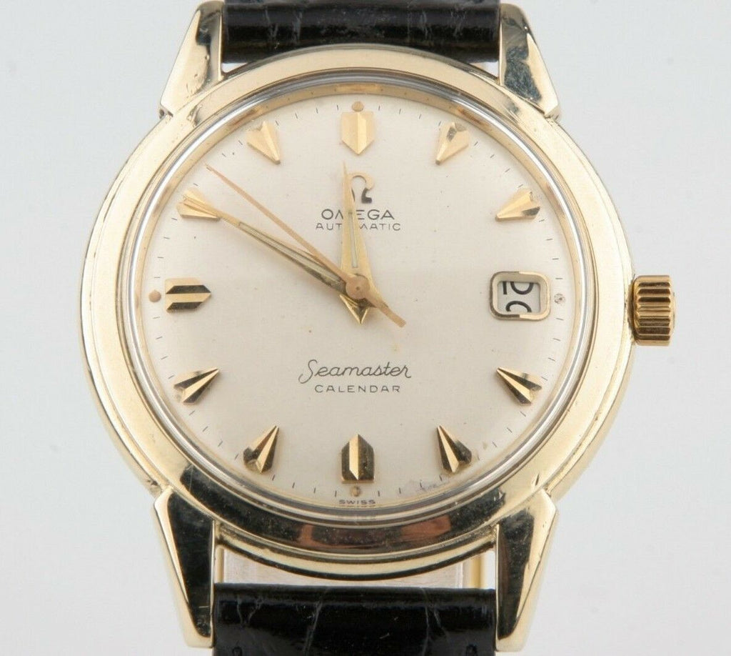 Vintage Omega Ω Men's Seamaster Calendar Automatic 14k Gold Filled Watch w/ Date