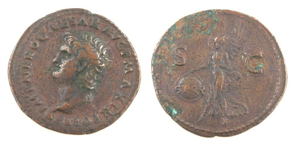 54-68 Roman Imperial AE As VF Nero Victory SPQR SC Rome Copper Coin S-1976