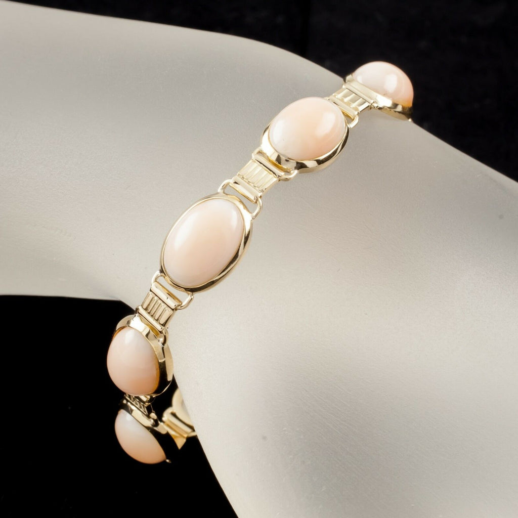 Light Pink Coral Tennis 18k Yellow Gold Bracelet 7.5 inches