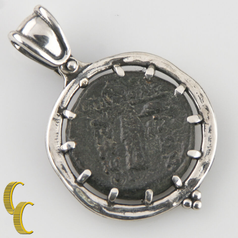 GREEK COIN IN SILVER BEZEL WITH RUBY CABOCHON PENDANT AR-1013