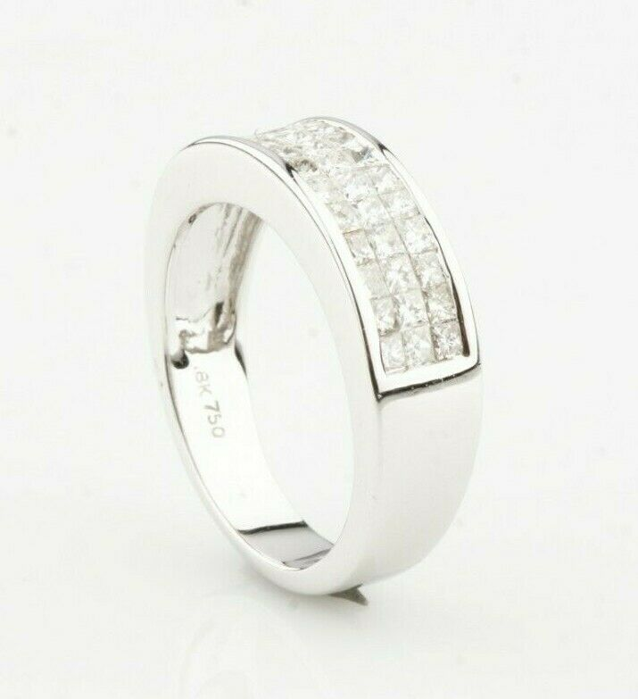 18k White Gold Princess Diamond Plaque Ring TDW = 1.10 ct Sz 7