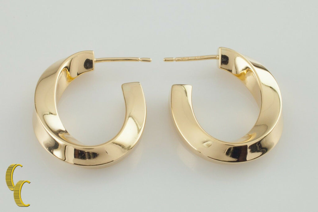 Tiffany & Co. Vintage Twist Hoop 18k Yellow Gold Post Earrings Retired!