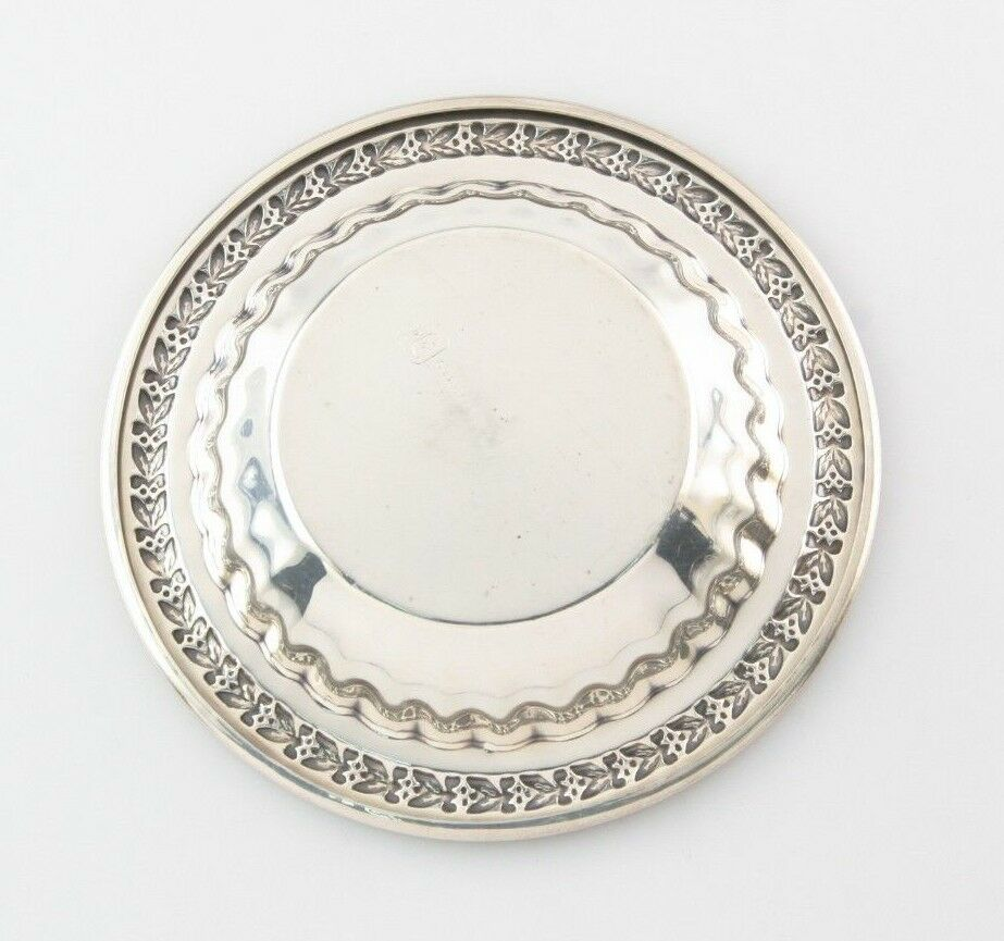 Set of 4 Sterling Silver L Bros Repousse Mini Dishes / Pie Tins Good Condition!