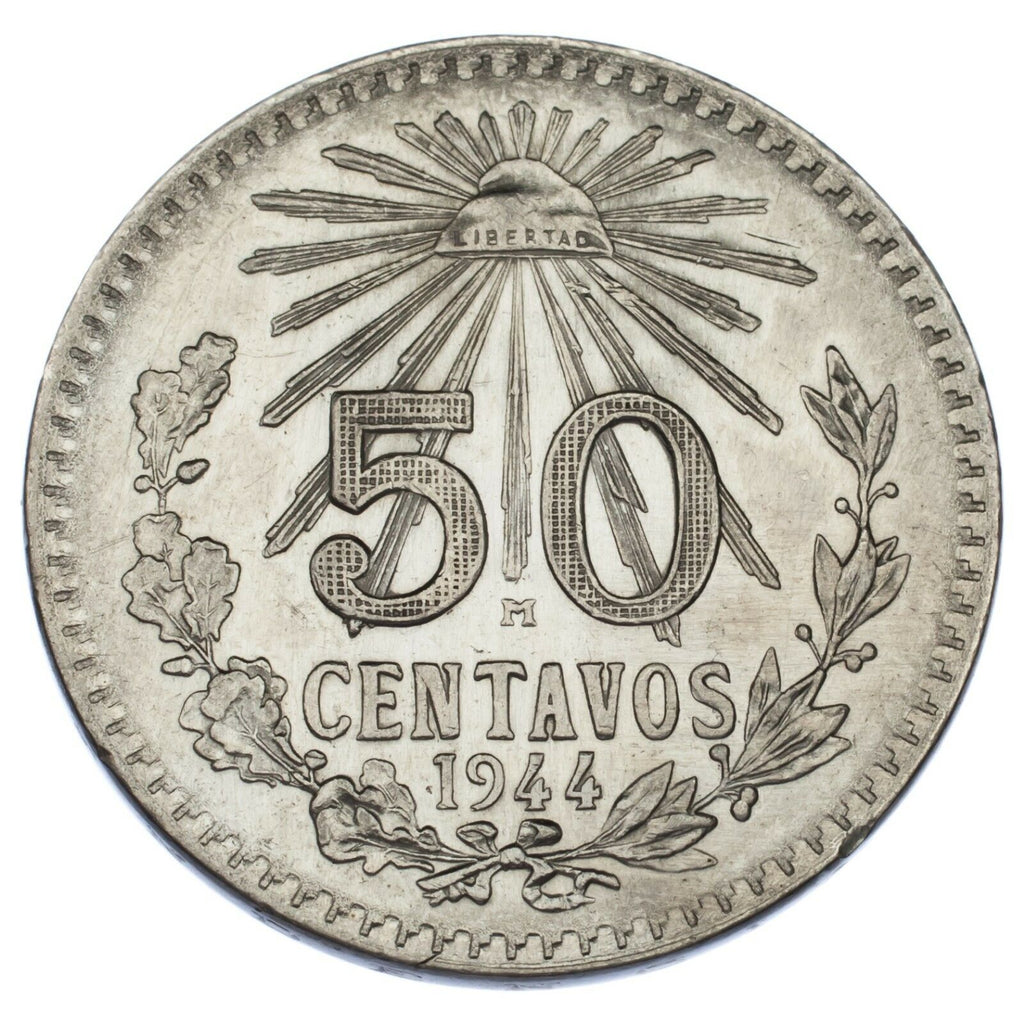 Lot of 2 Mexico 50 Centavos (1919 50C VF+, 1944 50C Uncirculated) KM #447
