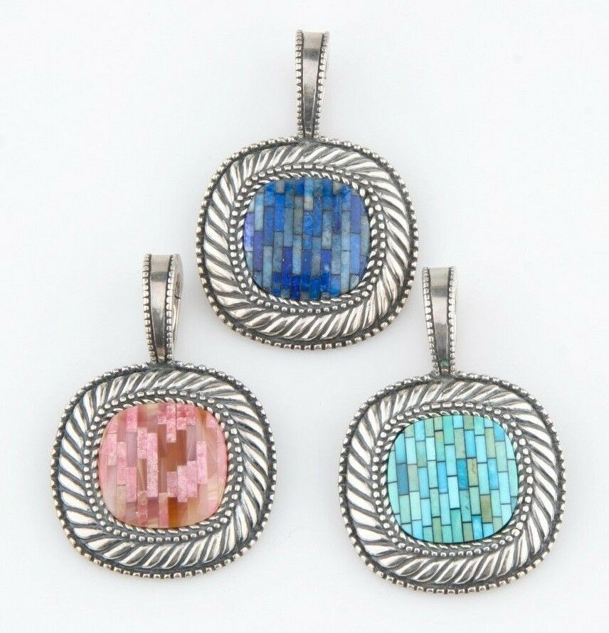 Carolyn Pollack Sterling Silver Mosaic Pendant Enhancers (Set of 3)