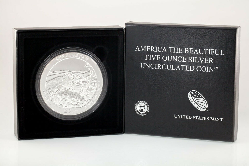 "2014-P 5 Oz. ""America the Beautiful"" Shenandoah .999 Silver Coin w/ Box CoA ATB"
