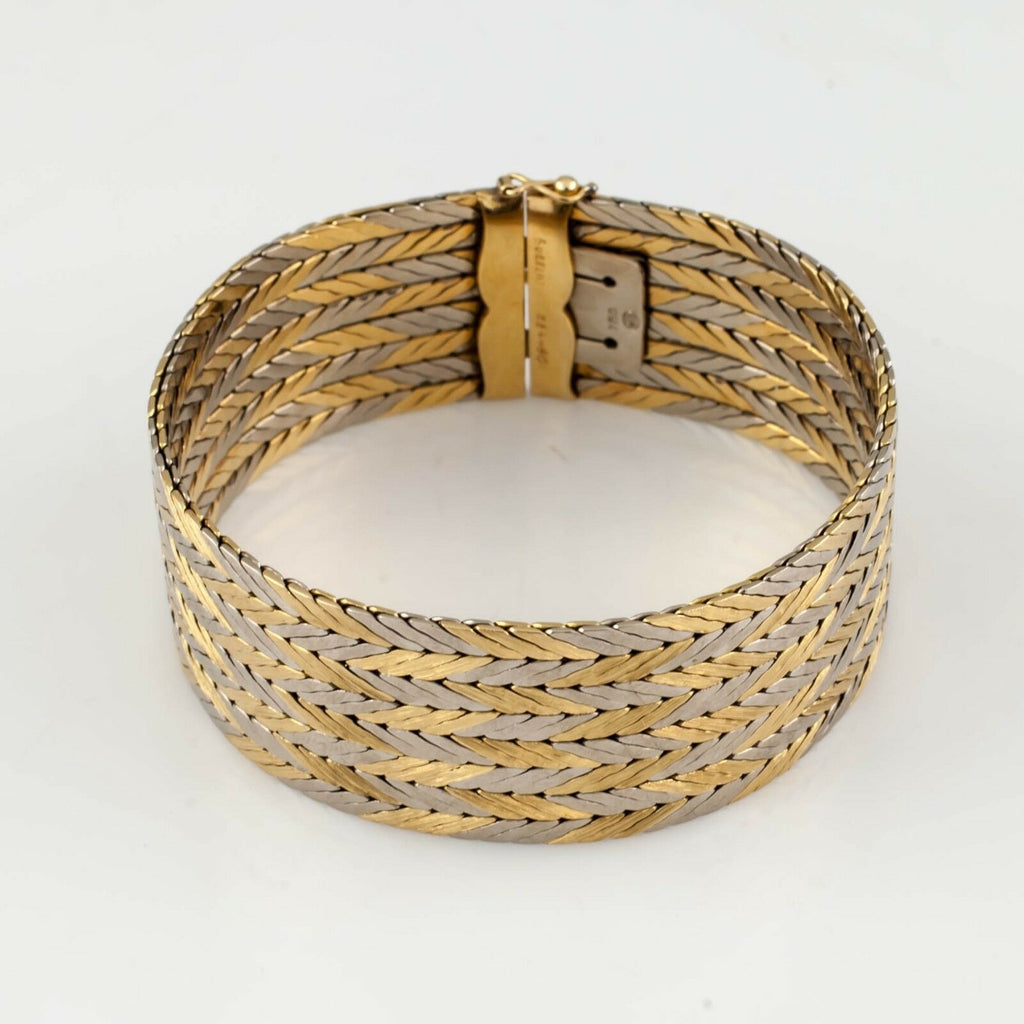 Gubelin Estate 18k Two-Tone Gold Chevron Pattern Bracelet w/ Hidden Clasp