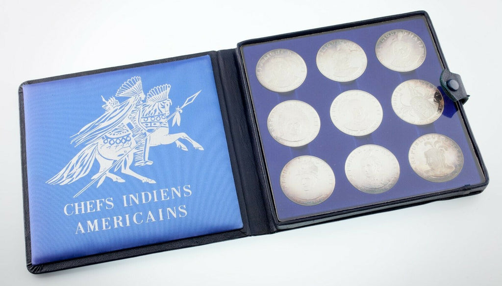 1971 Haiti Proof Set 10 Gourdes 9 Silver Coins Native Americans w/ Case
