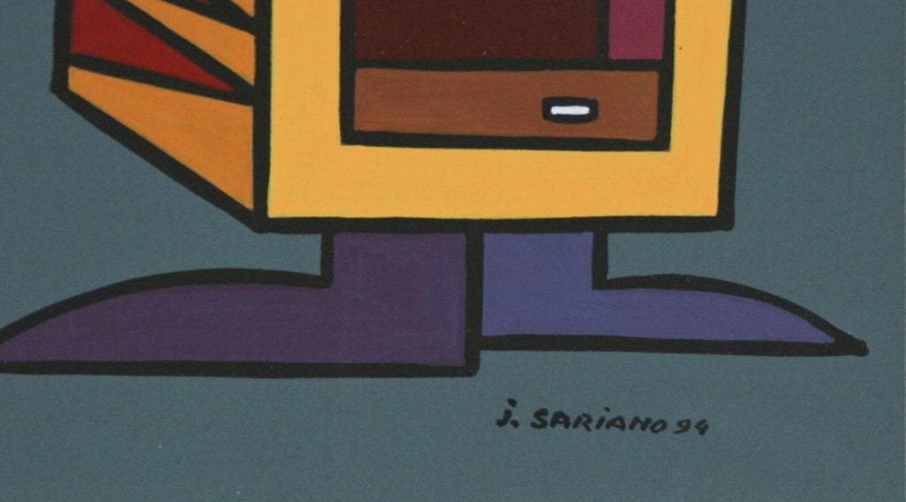 """Squarauquoierine"" by Jean Sariano Signed Ltd Edition Acrylic on Paper 1994"