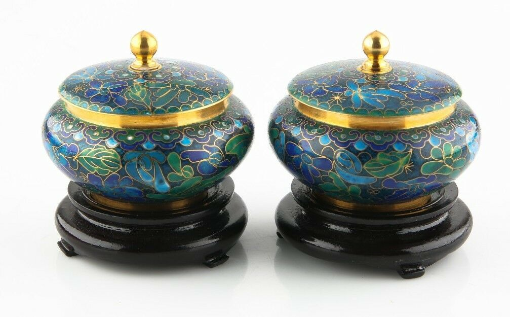 Pair of Vintage Hand Made Cloisonne Jars with Wood Bases & Original Box/Papers