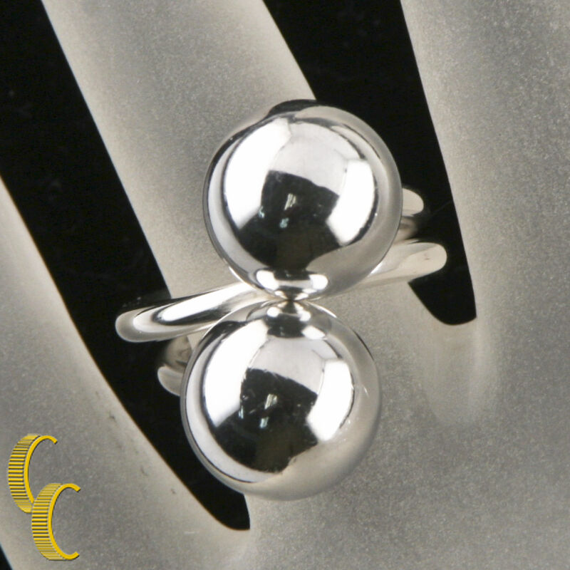 Georg Jensen Sterling Silver Modernist Ball Ring Designed by Bent Knudsen Size 4