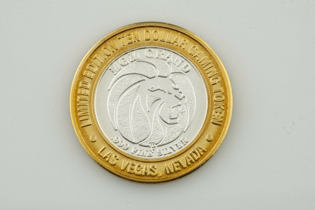 MGM GRAND, LAS VEGAS $10 TEN DOLLAR GAMING TOKEN .999 FINE SILVER COIN