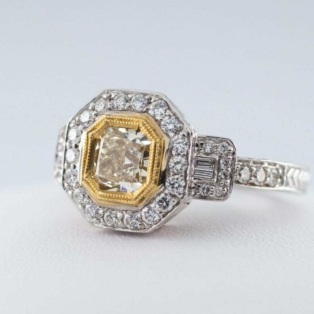 Fancy Yellow Radiant Diamond Solitaire 18k Two Tone Gold Halo Ring Size 6.5