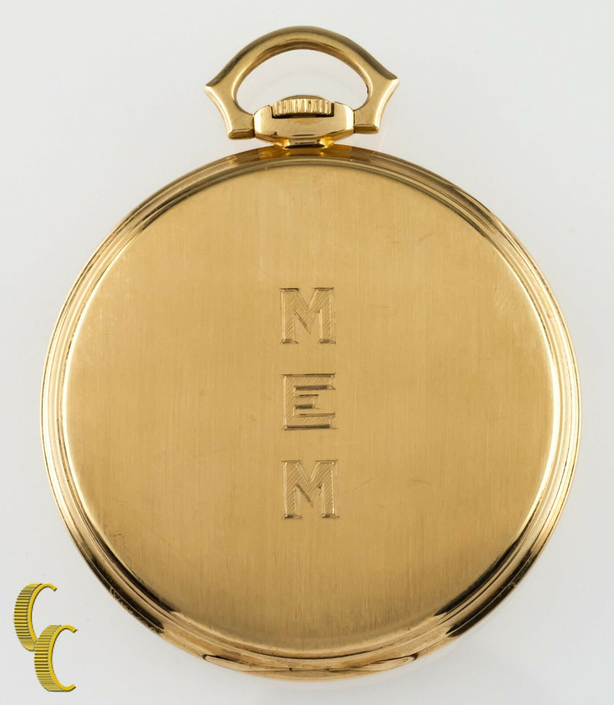 Hamilton 14K Yellow Gold Antique Open Face Pocket Watch Gr 923 10S 23 Jewel