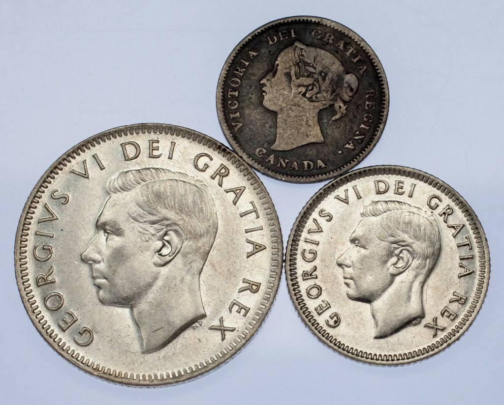 Canada Lot of 3 Coins (1891 - 1951 5C - 25) VF to Uncirculated Condition