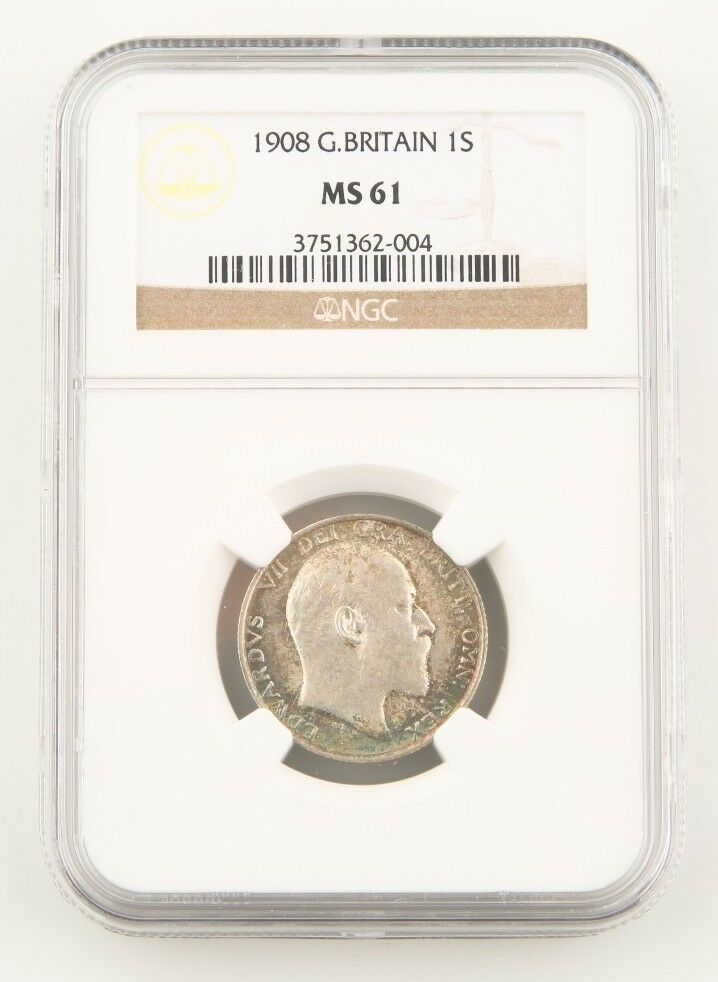1908 Great Britain Shilling Silver Coin MS-61 NGC Edward VII England KM#800